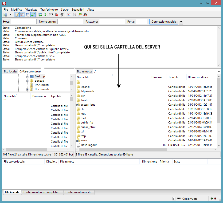 Connetti Filezilla